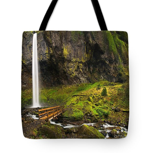 Elowah Falls Panorama -  Columbia River Gorge In Oregon Tote Bag