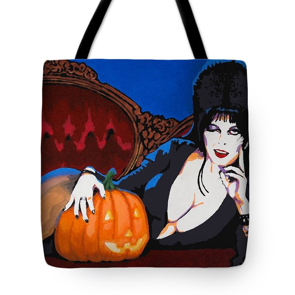 Tote Bag featuring the painting Elvira Dark Mistress by Dale Loos Jr