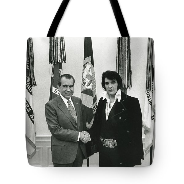 Elvis And Nixon Tote Bag