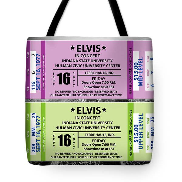 Tote Bag featuring the digital art Elvis Presely Tickets by Marvin Blaine