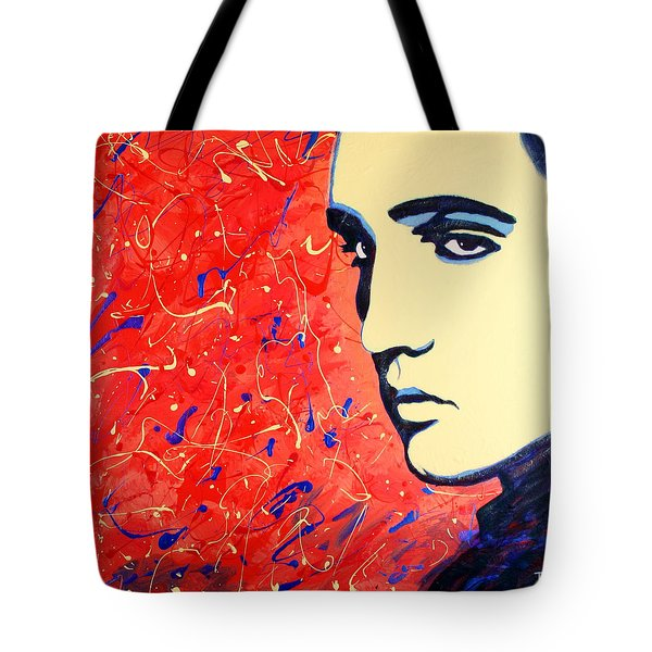 Tote Bag featuring the painting Elvis Presley - Red Blue Drip by Bob Baker