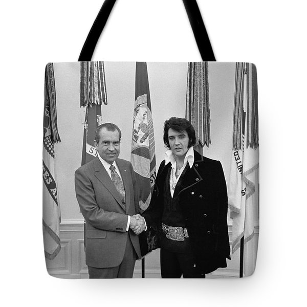 Elvis Presley And Richard Nixon-featured In Men At Work Group Tote Bag