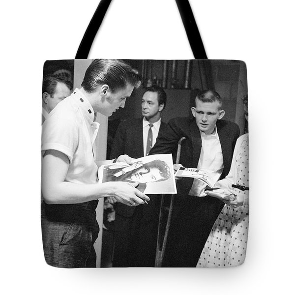 Elvis Presley Backstage Signing Autographs For Fans 1956 Tote Bag
