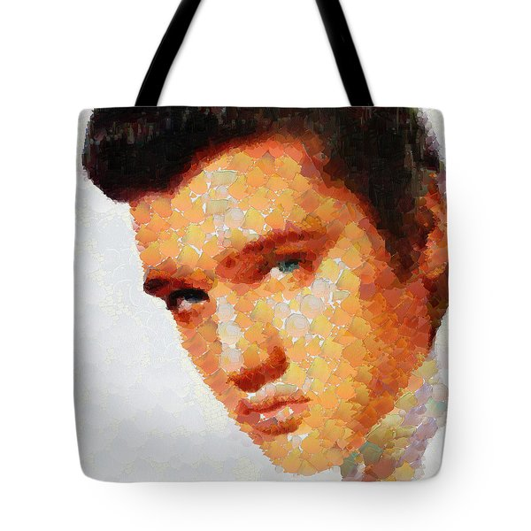 Elvis Presley The King Of Rock Music Tote Bag by Georgi Dimitrov