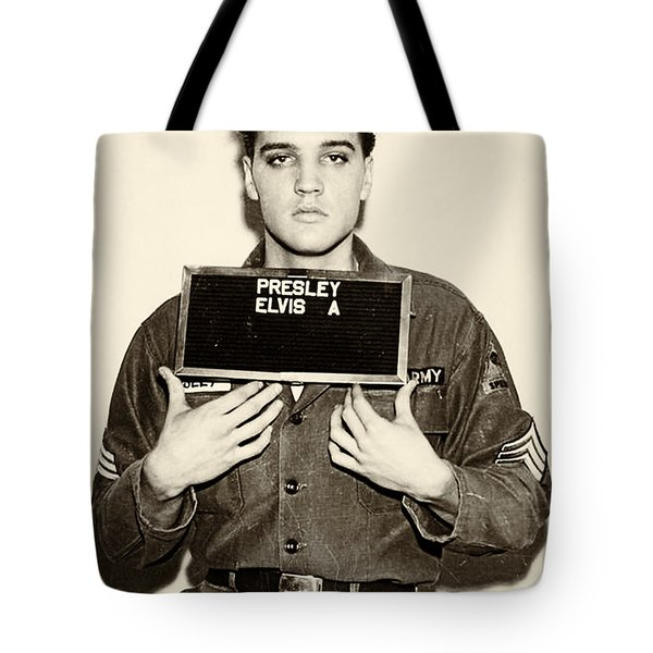Elvis Presley - Mugshot Tote Bag by Bill Cannon
