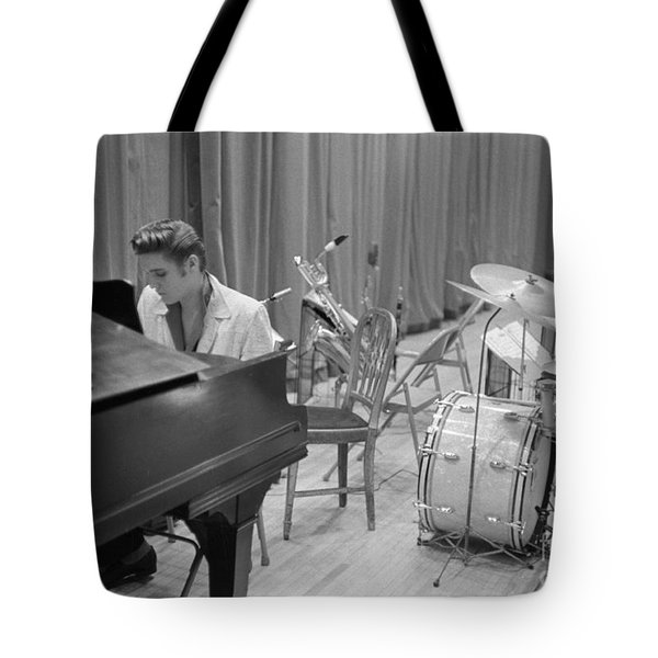 Elvis Presley On Piano Waiting For A Show To Start 1956 Tote Bag by The Harrington Collection
