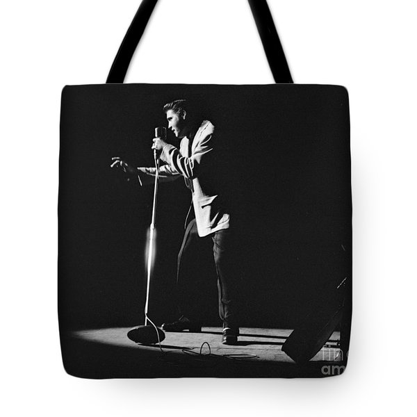 Elvis Presley On Stage In Detroit 1956 Tote Bag by The Harrington Collection