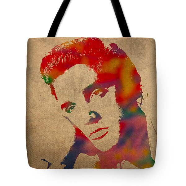 Elvis Presley Watercolor Portrait On Worn Distressed Canvas Tote Bag by Design Turnpike