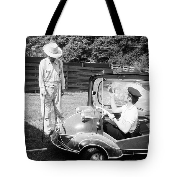 Elvis With His Messerschmitt Microcar 1956 Tote Bag
