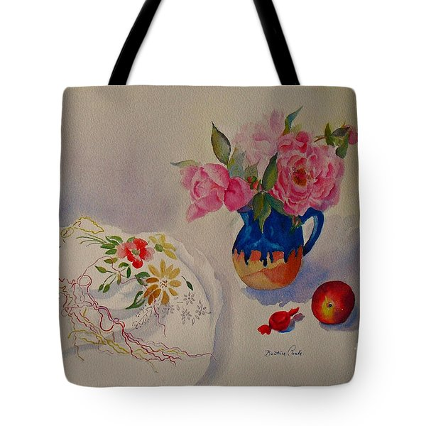 Embroidery And Roses Tote Bag
