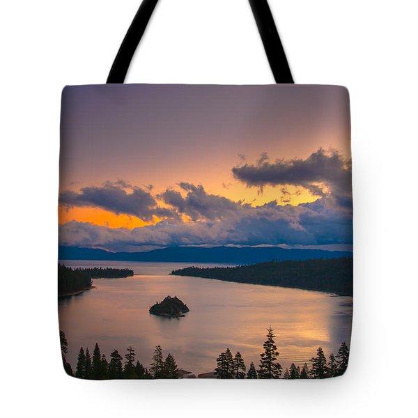 Emerald Bay Before Sunrise Tote Bag by Marc Crumpler