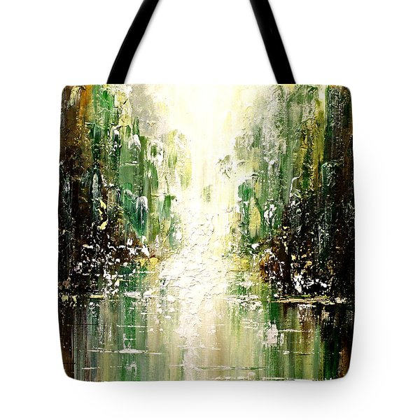 Tote Bag featuring the painting Emerald City Falls by Patricia Lintner
