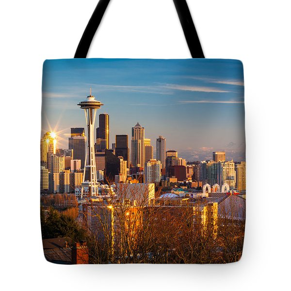 Emerald City Sunset Tote Bag by Inge Johnsson