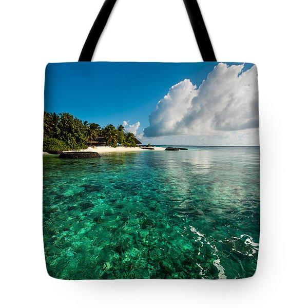 Emerald Purity. Kuramathi Resort. Maldives Tote Bag by Jenny Rainbow