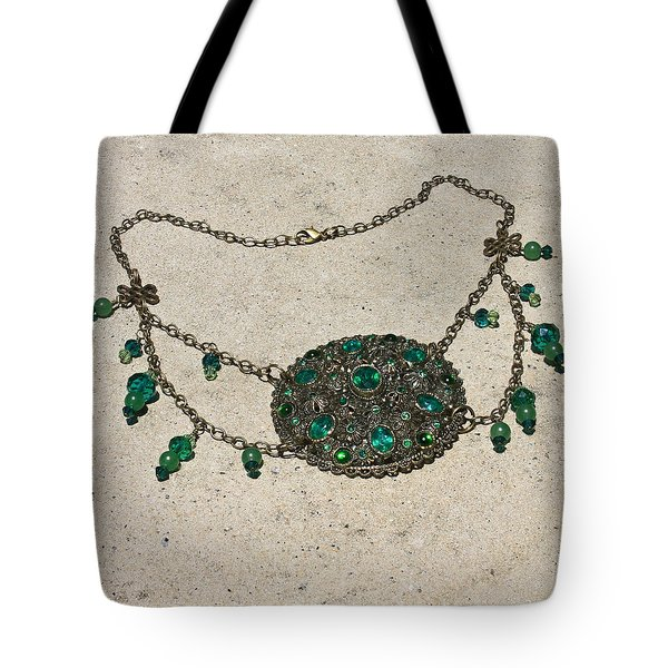 Emerald Vintage New England Glass Works Brooch Necklace 3632 Tote Bag by Teresa Mucha