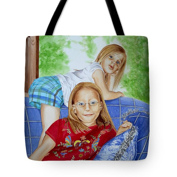 Emi And Mackenzie Tote Bag by Debbie Hart