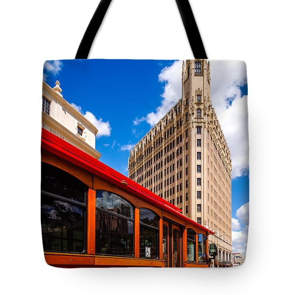 Emily Morgan Hotel And Red Streetcar - San Antonio Texas Tote Bag