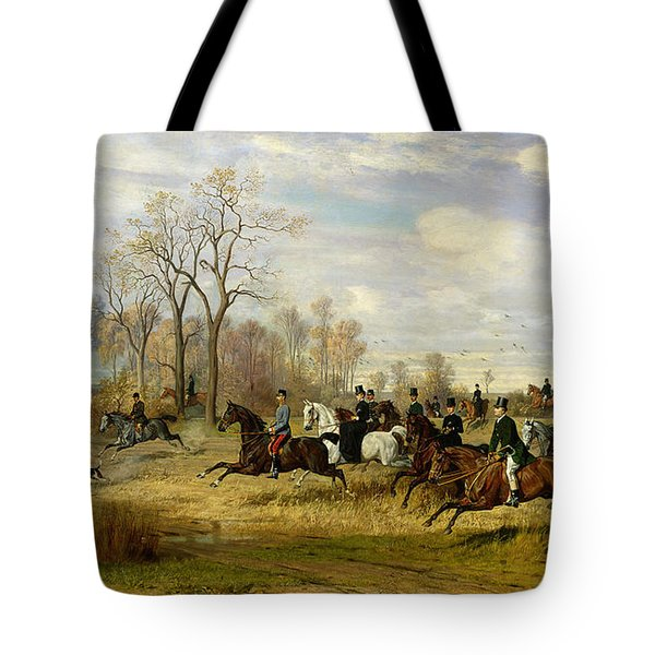 Emperor Franz Joseph I Of Austria Hunting To Hounds With The Countess Larisch In Silesia Tote Bag by Emil Adam