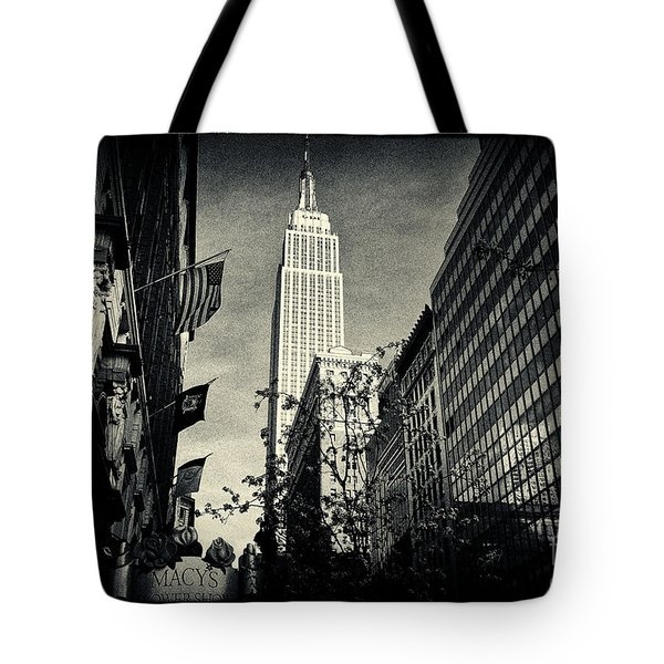 Empire State Building And Macys In New York City Tote Bag by Sabine Jacobs