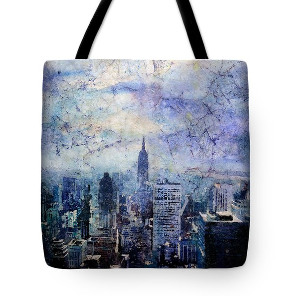 Empire State Building In Blue Tote Bag by Ryan Fox