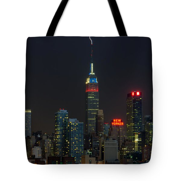 Empire State Building Lightning Strike I Tote Bag by Clarence Holmes