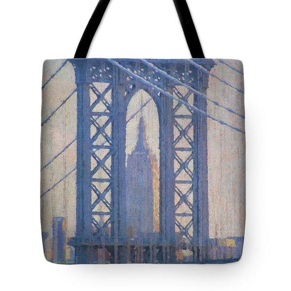 Empire State Building Through The Manhattan Bridge Tote Bag by Jean-Pierre Ducondi