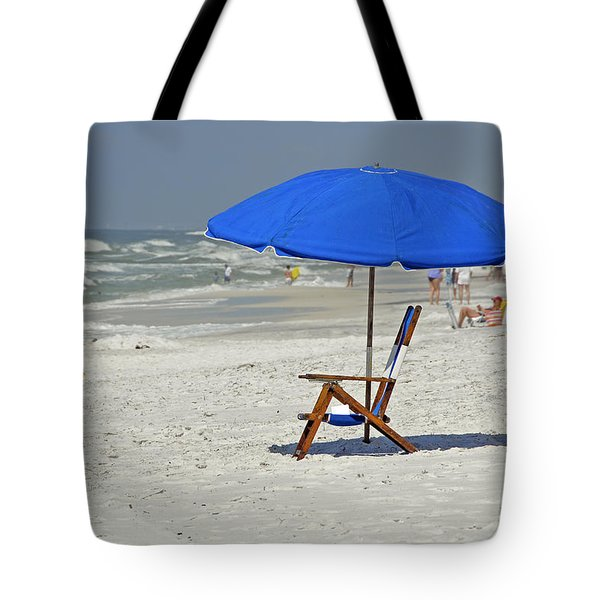 Tote Bag featuring the photograph Empty Beach Chair by Charles Beeler