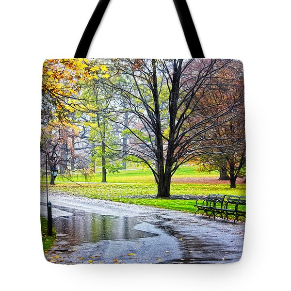 Empty Walkway On A Beautiful Rainy Autumn Day Tote Bag by Nishanth Gopinathan