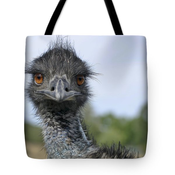 Tote Bag featuring the photograph Emu Gaze by Belinda Greb