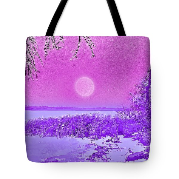 Tote Bag featuring the digital art Rosy Hued Moonlit Lake - Boulder County Colorado by Joel Bruce Wallach