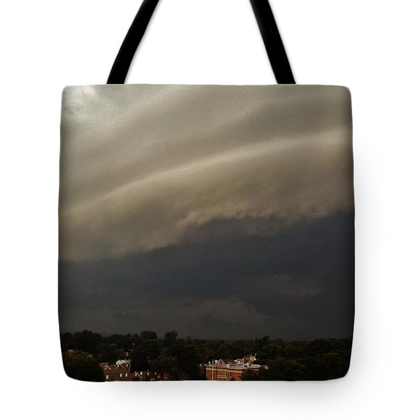 Tote Bag featuring the photograph Encroaching Shelf Cloud by Ed Sweeney