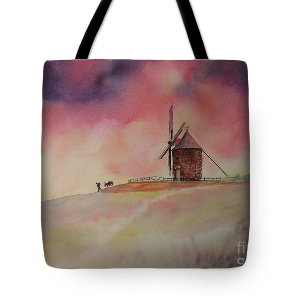 End Of The Day Windmill Of Moidrey Tote Bag