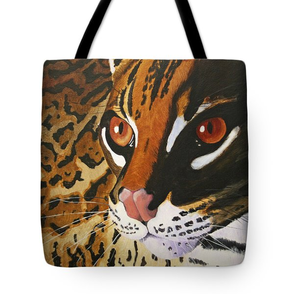 Endangered - Ocelot Tote Bag by Mike Robles