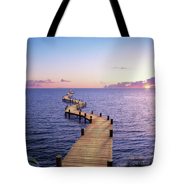 Endless Dock At Sunset Tote Bag