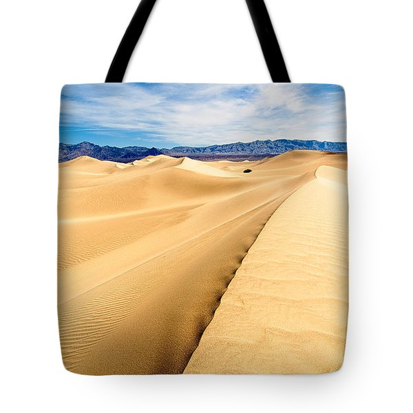 Endless Dunes - Panoramic View Of Sand Dunes In Death Valley National Park Tote Bag