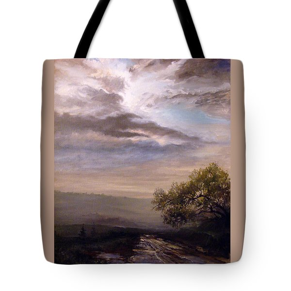 Tote Bag featuring the painting Endless Road Eternal Being by Mikhail Savchenko