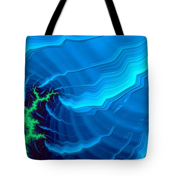Energetic Abstract Art Green And Blue Tote Bag