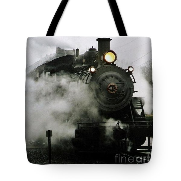 Engine Number 40 Making Steam Pulling Into New Hope Passenger Train Terminal Tote Bag