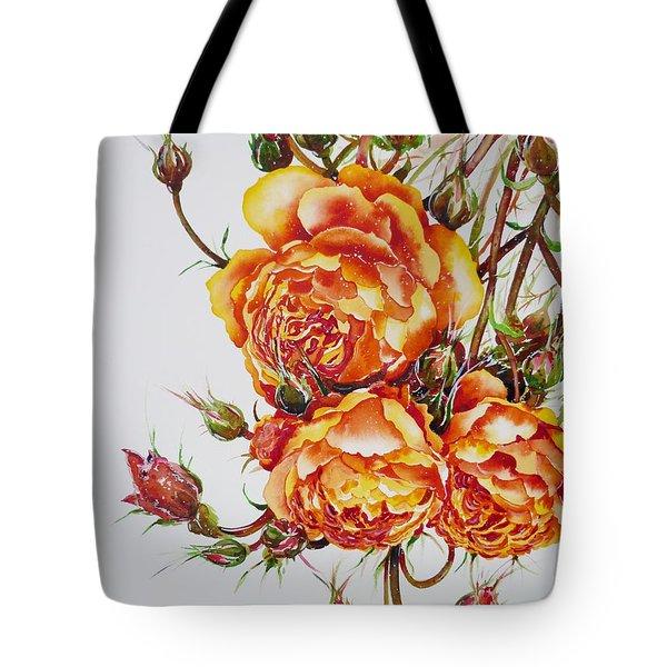 English Roses Tote Bag by Zaira Dzhaubaeva