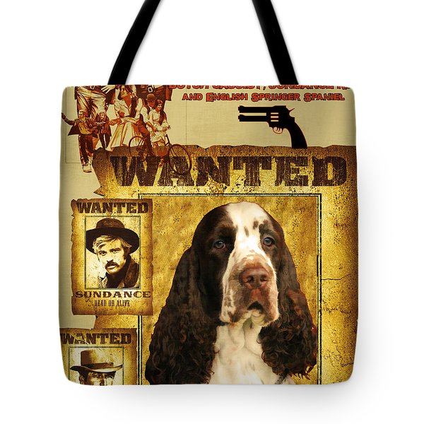 English Springer Spaniel Art Canvas Print - Butch Cassidy And The Sundance Kid Movie Poster Tote Bag