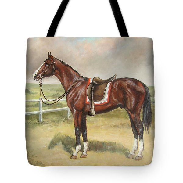 English Stallion Dark Bay Tote Bag