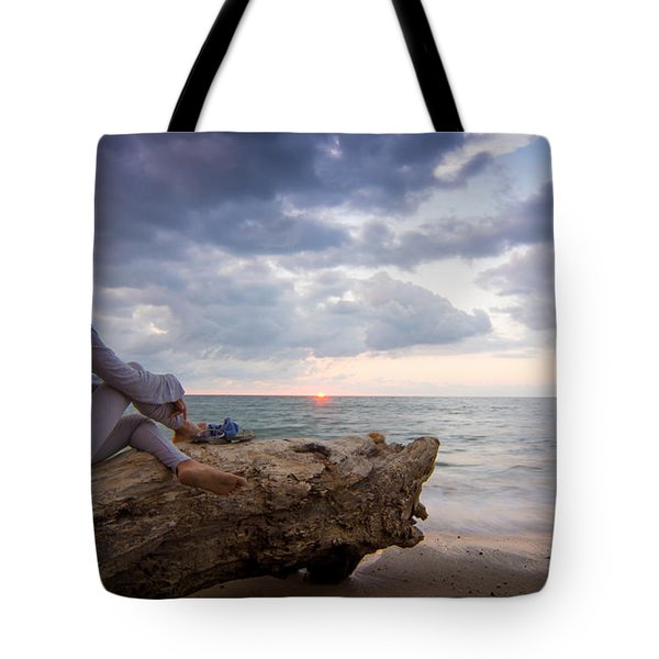 Enjoing The Sunset Tote Bag by Aged Pixel