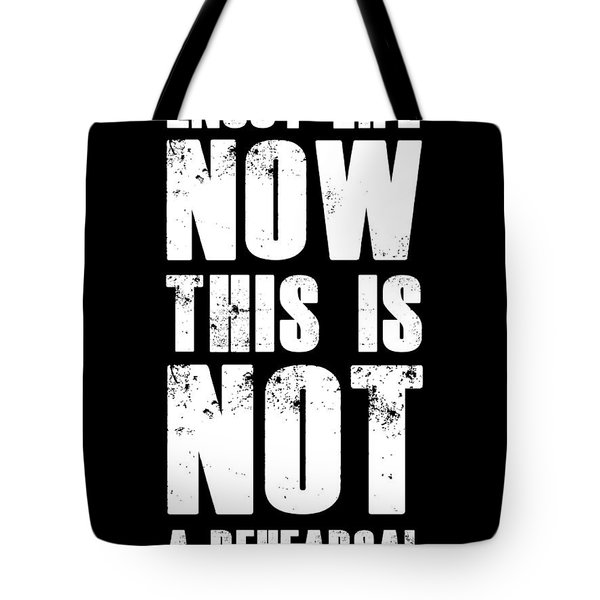 Enjoy Life Now Poster Black Tote Bag