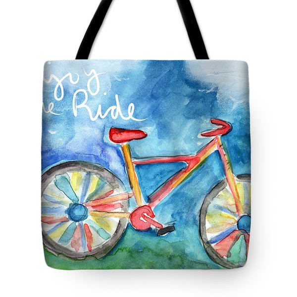 Enjoy The Ride- Colorful Bike Painting Tote Bag