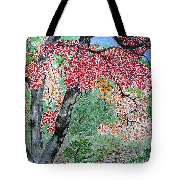 Enjoying Lost Maples Tote Bag