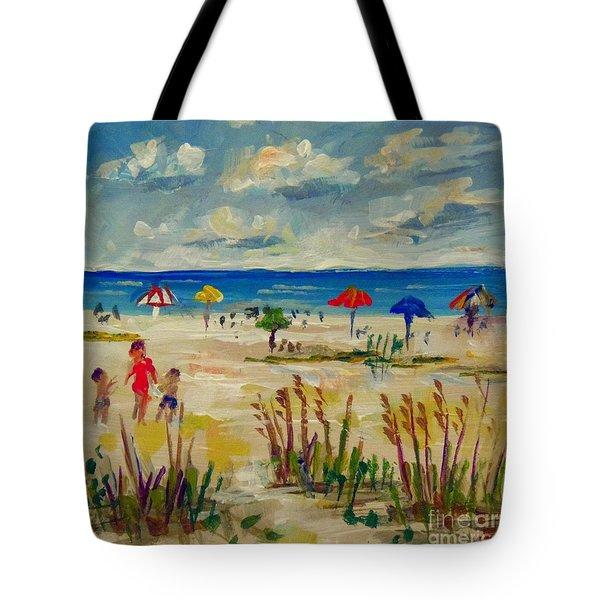 Tote Bag featuring the painting Enjoying Siesta Beach by Lou Ann Bagnall