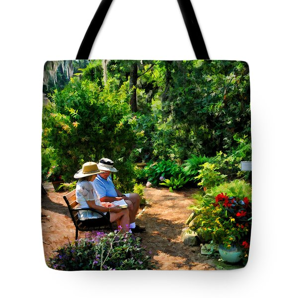 Loving Couple Enjoying Their Prayer Garden Tote Bag
