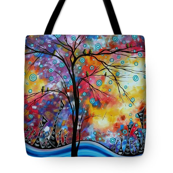 Enormous Whimsical Cityscape Tree Bird Painting Original Landscape Art Worlds Away By Madart Tote Bag by Megan Duncanson