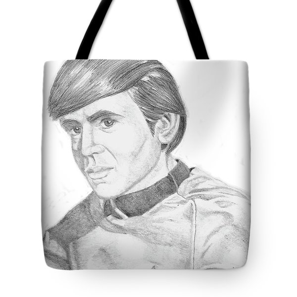 Tote Bag featuring the drawing Ensign Pavel Chekov by Thomas J Herring