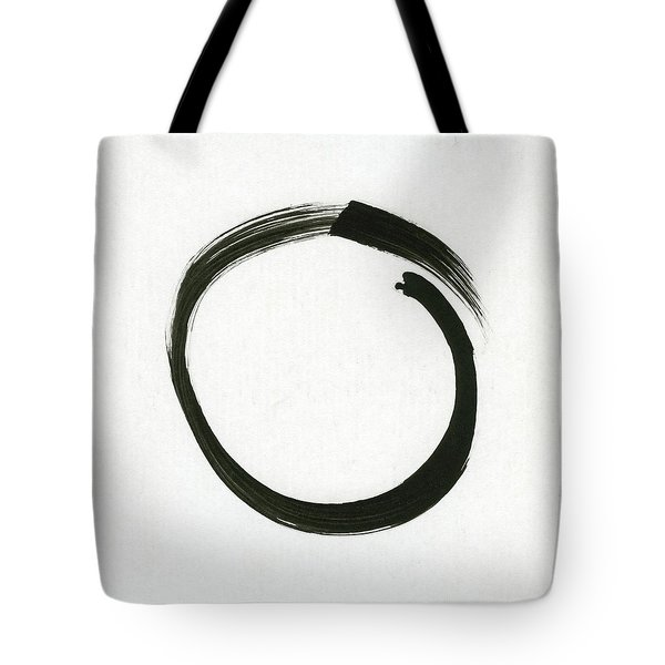 Enso #1 - Zen Circle Minimalistic Black And White Tote Bag